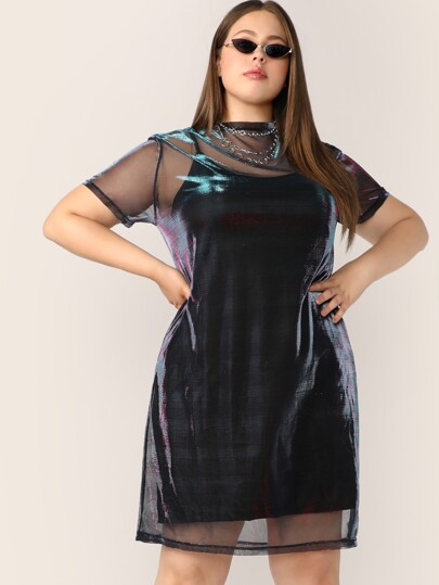 Plus Sheer Mesh Panel Dress With Cami Dress