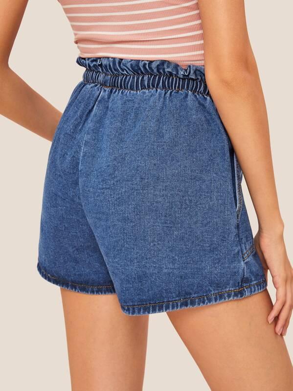 Pocket Detail Bow Decoration Elastic Waist Denim Shorts Shein In