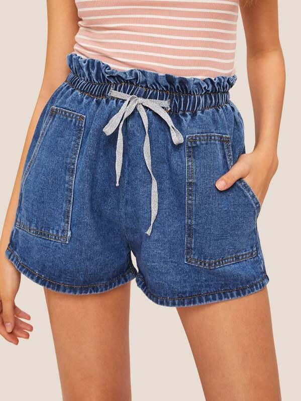 Pocket Detail Bow Decoration Elastic Waist Denim Shorts Shein