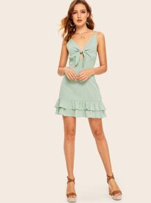 Knot Front Layered Ruffle Hem Cami Dress