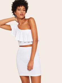 One Shoulder Ruffle Foldover Top & Skirt Set