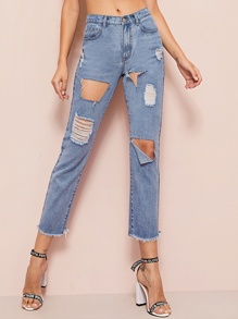 Bleach Wash Destroyed Ripped Raw Hem Boyfriend Jeans