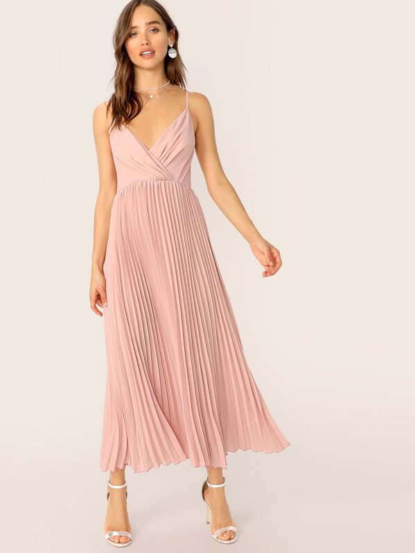 a1728992485edb Surplice Neck Pleated Cami Dress