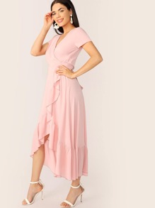Surplice Wrap Ruffle Trim Belted Dress