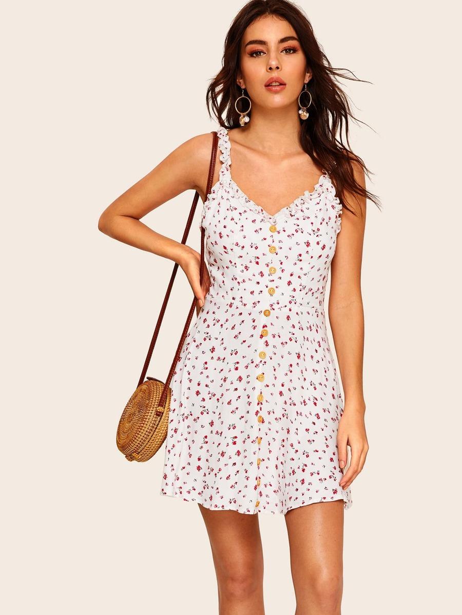 f55598b0f9 Shoptagr | Single Breasted Frill Trim Ditsy Floral Slip Dress by Shein
