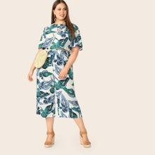 Plus Flutter Sleeve Tropical Crop Top & Pants Set