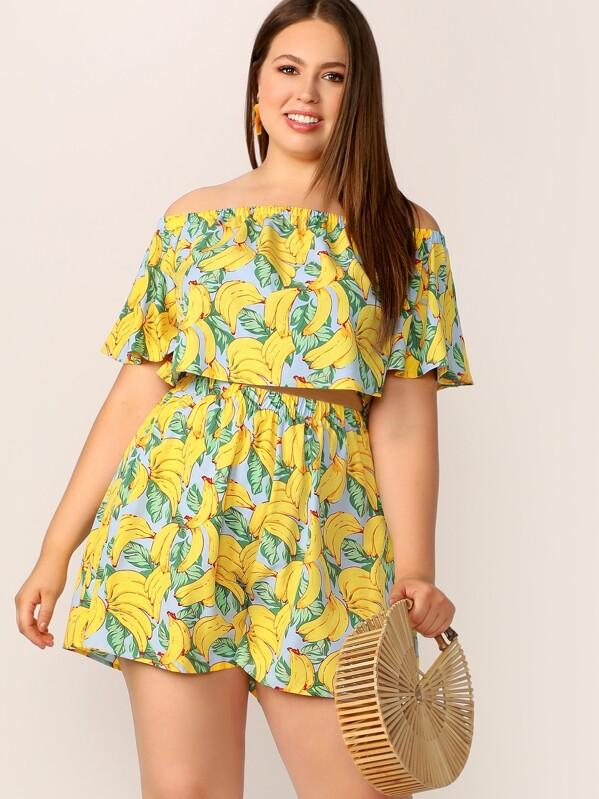 ac5c6c01ee8 Plus Off Shoulder Banana Print Crop Top & Shorts Set   SHEIN UK