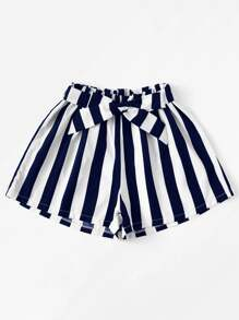 Plus Striped Belted Shorts