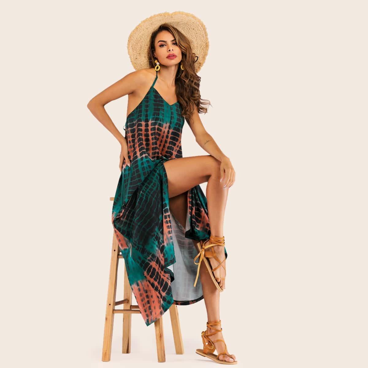 Разноцветное платье-халтер с открытой спинкой
