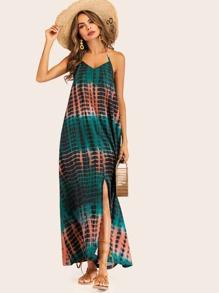 a33314b7baa Tie Dye Backless Halter Dress   SHEIN