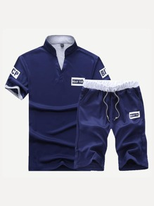 Men Letter Print Polo Shirt With Shorts