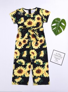 Toddler Girls Sunflower Print Self Tie Jumpsuit