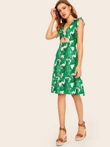 Tropical Print Button And Tie Front Peekaboo Dress