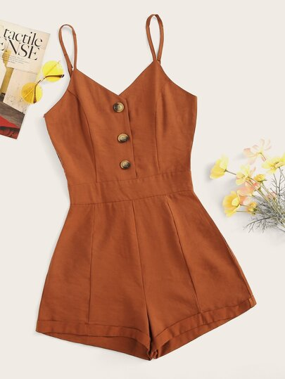 Button Front Solid Cami Playsuit