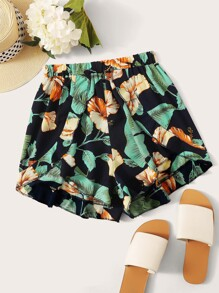 Floral And Plants Print Ruffle Trim Shorts