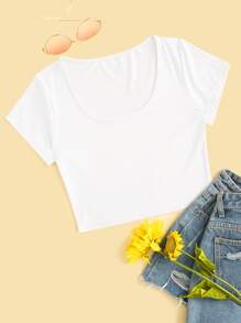 Scoop Neck Crop Tee
