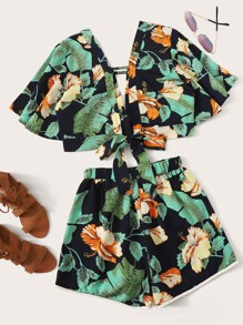Floral And Plants Print Tie Back Top With Shorts