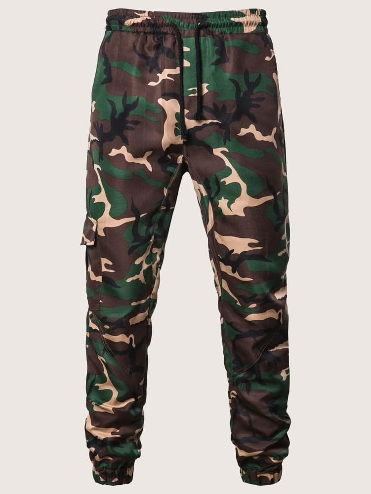 18f415494b54b Guys Side Pocket Camo Drawstring Pants | ROMWE