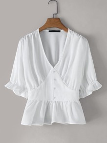 V-neck Peplum Hem Solid Blouse