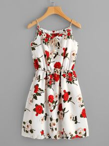 Plus Knot Front Floral Print Cami Dress
