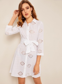 Self Tie Eyelet Embroidery Shirt Dress