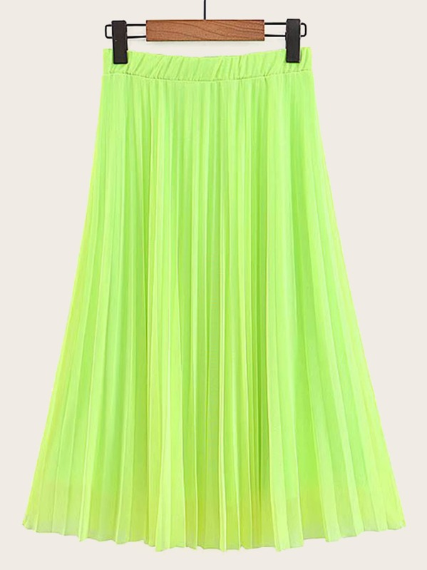 520420829 Neon Lime Pleated Skirt | SHEIN