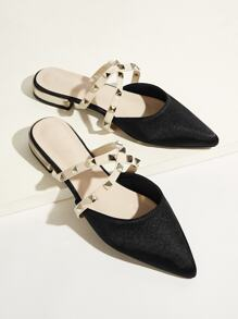 Studded Decor & Criss Cross Flat Mules