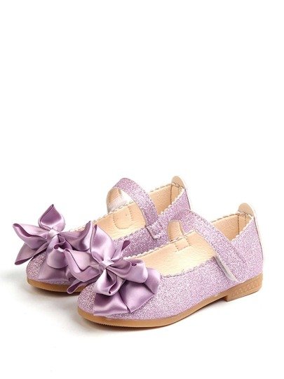 Baby Glitter Bow Tie Decor Flats