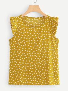 Plus Polka Dot Ruffle Blouse