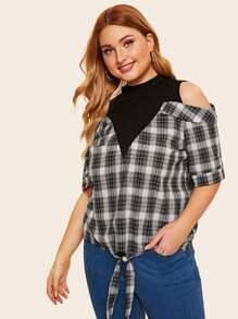 Plus Contrast Panel Plaid Knot Hem Blouse