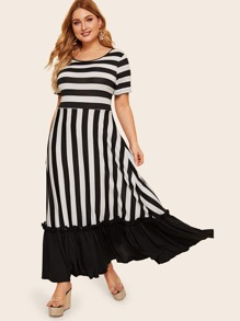 Plus Striped Frill Ruffle Hem Dress