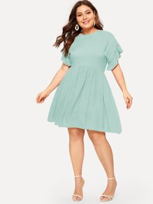 Plus Contrast Ruffle Cuff Dress