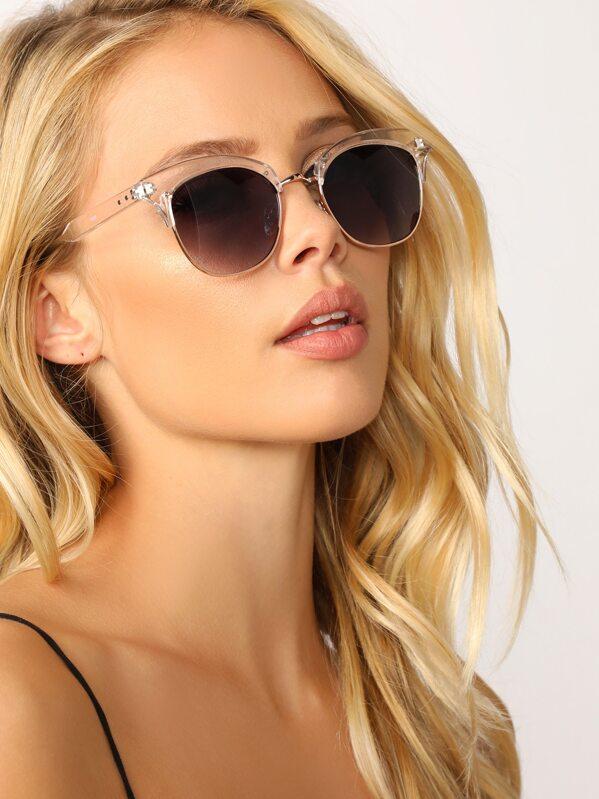c3925d845ad6b Clubmaster Top Clear Acrylic Rim Sunglasses