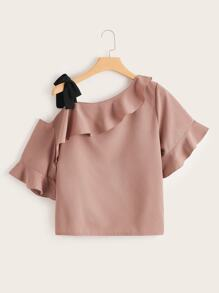 Plus Asymmetrical Neck Ruffle Knot Blouse