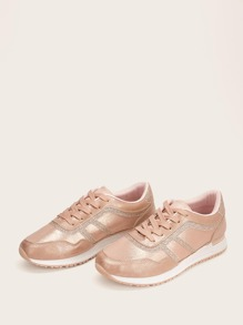 Glitter Detail Lace-up Front Sneakers