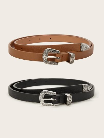 Textured Buckle Belt 2pack