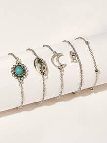 Conch & Moon Detail Chain Bracelet 5pack