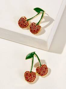 Rhinestone Engraved Cherry Stud Earrings 1pair