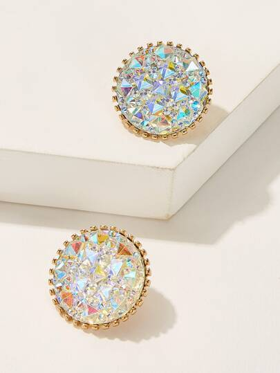 Rhinestone Iridescence Round Stud Earrings 1pair