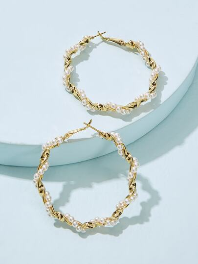 Faux Pearl Spiral Hoop Earrings 1pair