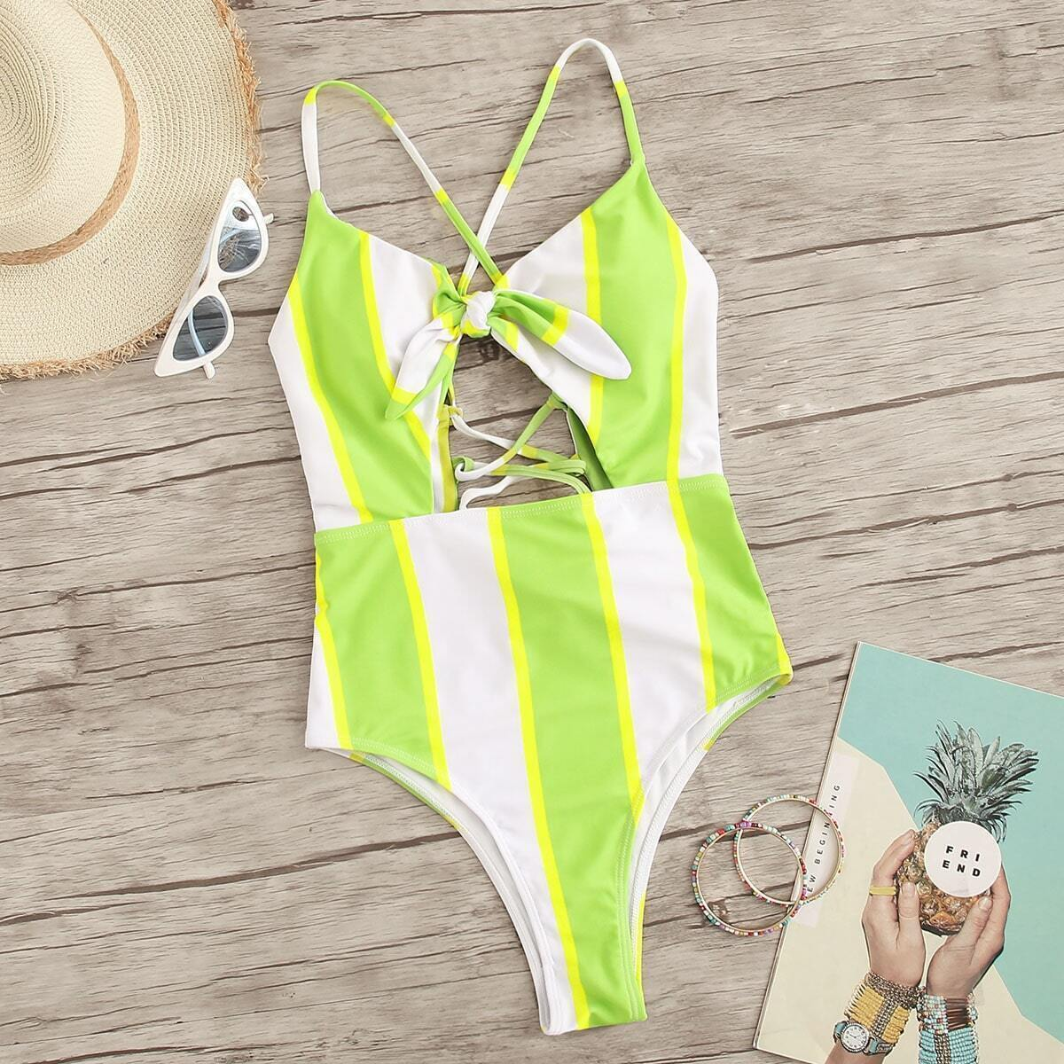 Striped Cut-out Criss Cross One Piece Swimsuit