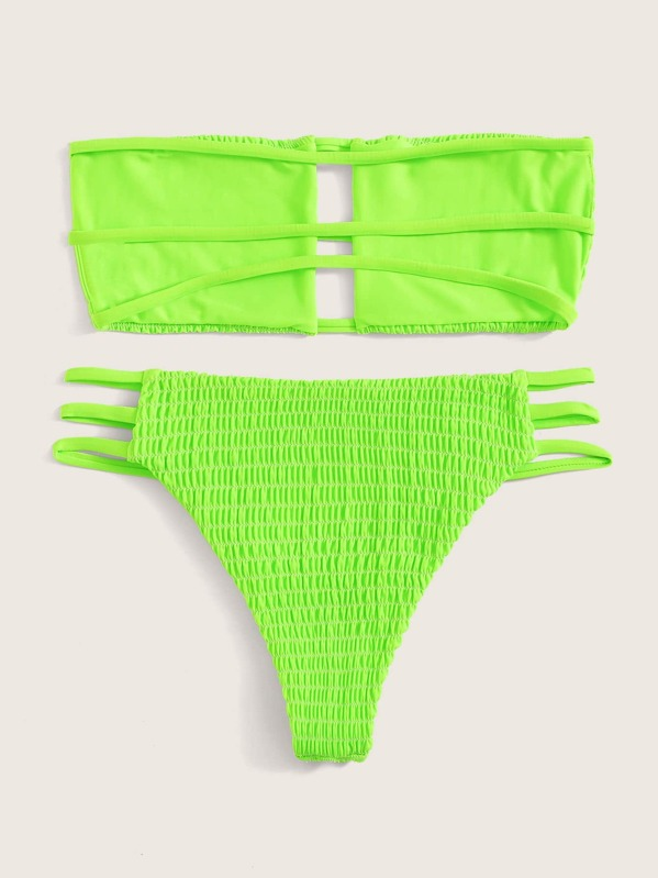 3b75cb68a0 Neon Lime Smocked Ladder Cut-out Bandeau Bikini Set | SHEIN