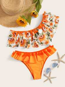 Random Floral One Shoulder Tiered Ruffle Bikini Set