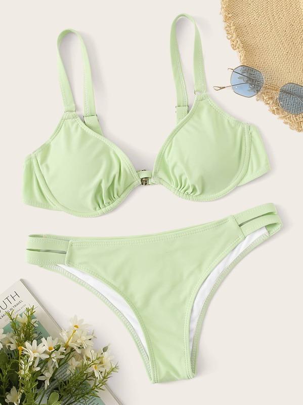 adcc0174d7 Underwired Top With Cutout Bikini Set | SHEIN UK