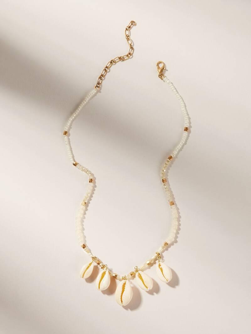 Puka Shell Charm Beaded Necklace