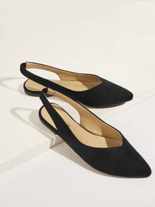 Solid Point Toe Slingback Flats