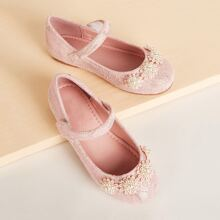 Toddler Kids Faux Pearl Decor Flats