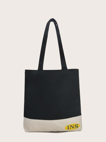 Two Tone Canvas Shopper Bag