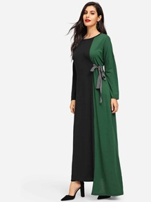 Color Block Knot Side Asymmetric Hem Dress