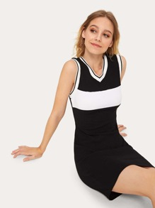 Contrast Panel Ribbed Tank Dress